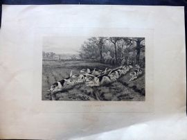 E. G. Hester after Thomas Blinks 1883 LG Etching. Gone Away. Foxhunting